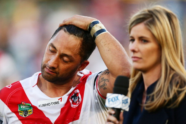 R to L: Lara Pitt, Benji Marshall, Weight of Dragon's fans expectation on Benji's shoulder (not pictured)